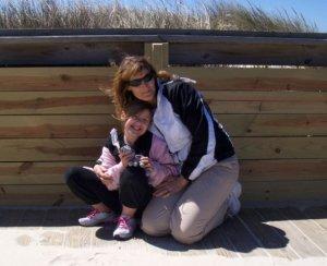 mom and bri beach
